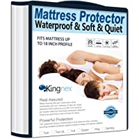 Kingnex Waterproof Bamboo Mattress Protector Twin Size Hypoallergenic Breathable Fitted Mattress Cover