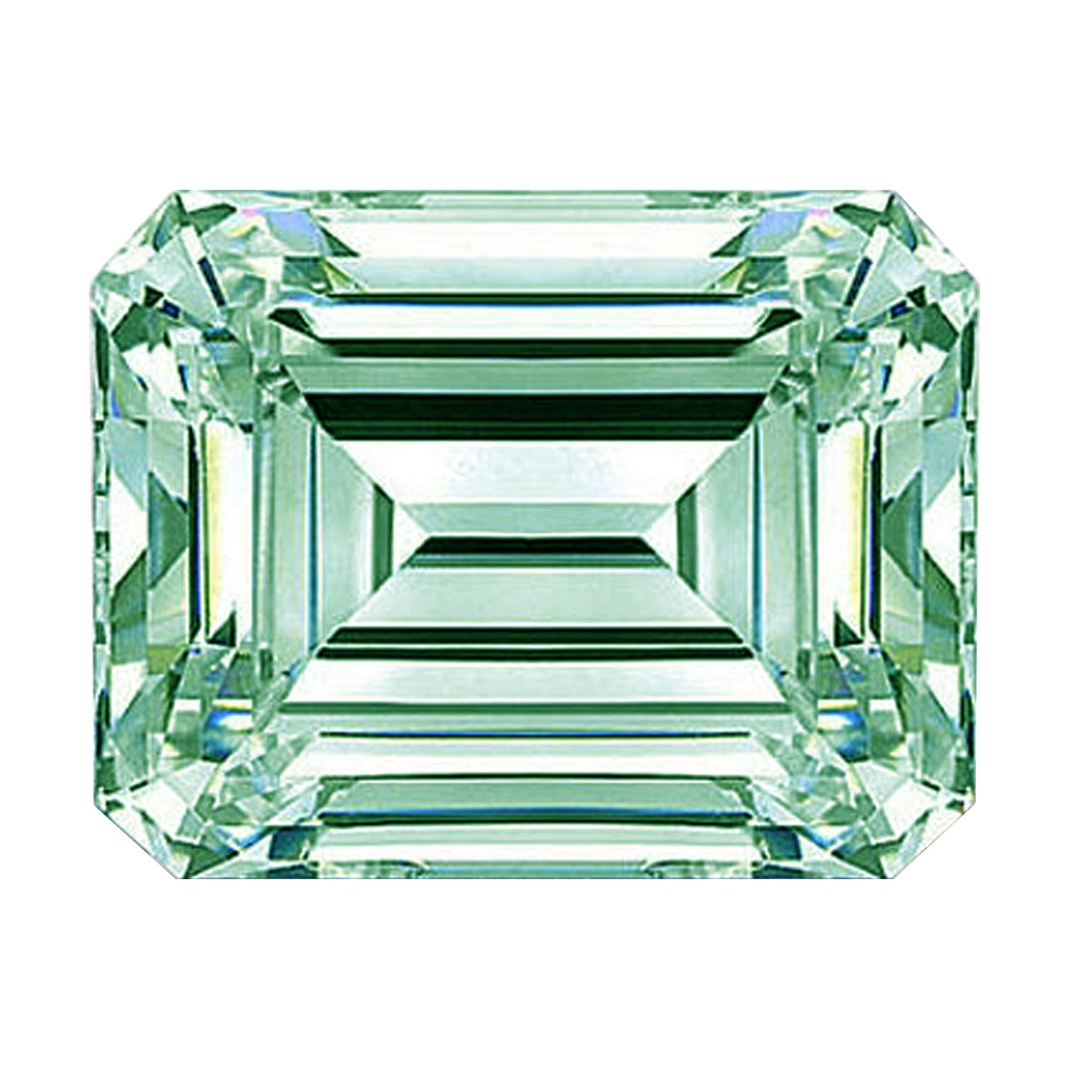 RINGJEWEL Emerald-Cut Loose Moissanite Use 4 Pendant/Ring Off White Ice Blue Color (3.44 ct,SI1 Clarity) by RINGJEWEL