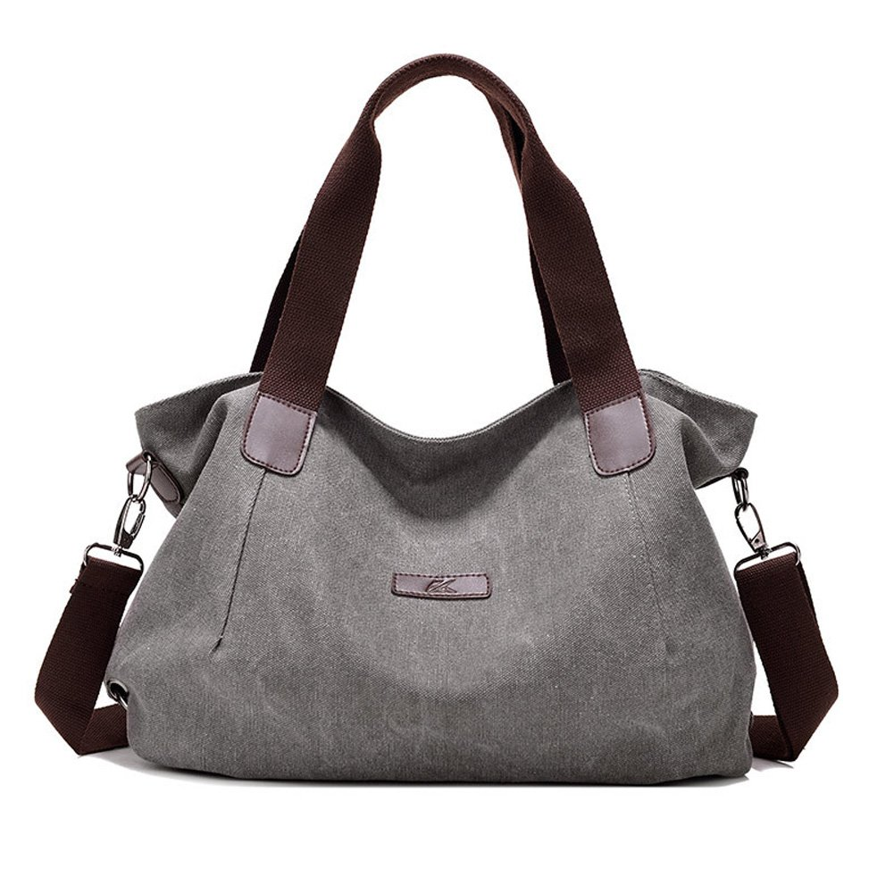 KARRESLY Women's Ladies Casual Hobo Shoulder Bags Canvas Fashion Daily Purse Tote Shopper Handbag(grey)