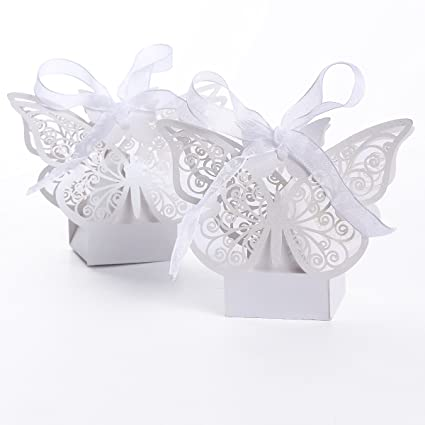 50pcs Cajas De Caramelo Corte Láser Mariposa Regalo Dulces De Pastel Del Banquete De Boda Favor