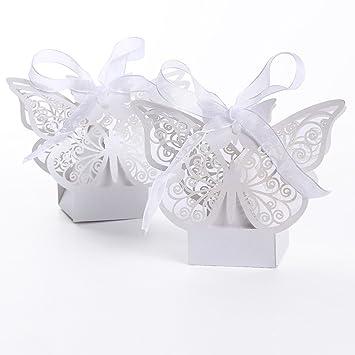 50pcs Cajas De Caramelo Corte Láser Mariposa Regalo Dulces De Pastel Del Banquete De Boda Favor: Amazon.es: Joyería