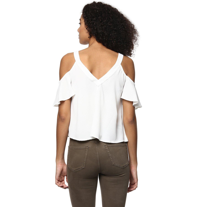 New Women Ruffled Cold Shoulder Shirt Crop Tops Slight Perspective Blouse Top