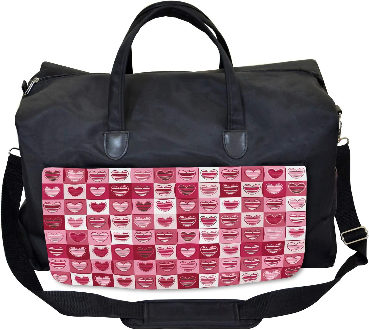 Vintage Geometric Ambesonne Pink White Gym Bag Large Weekender Carry-on