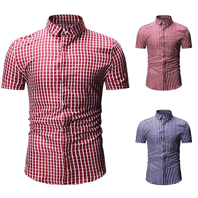 f3bdd2567 Everrikle T Shirts for Men Summer Men Fashion Plaid Print Turn Down Collar Short  Sleeve Shirt
