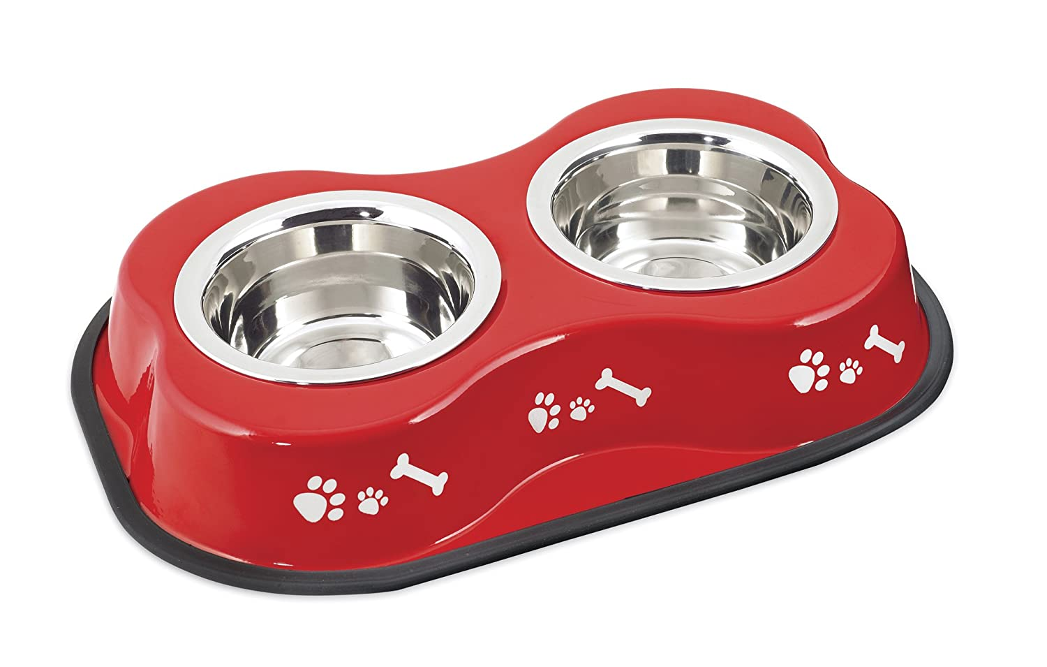 Bone Shaped Double Diner W 2 1pt Stainless Steel Bowls-Bone & Paws Print Red