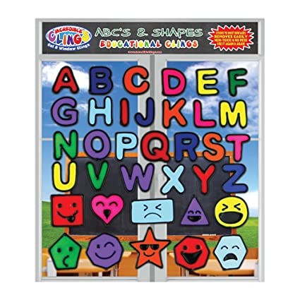 Alphabet And Shapes Gel Window Wall Clings For Kids Toddlers