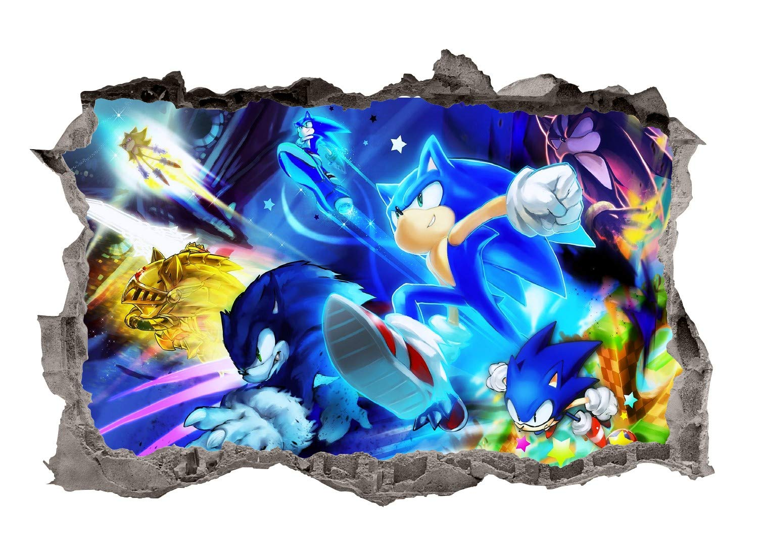 Adventure Sonic Wall Decals Art 3D Smashed Custom Hedgehog Kids Room Wall Decor Boys Bedroom Poster Mural Wallpaper Removable Vinyl Wall Stickers Gift (36