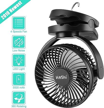 KeShi Ventilador de camping con linterna LED, 5000 mAh, ventilador de tienda de campaña a batería,