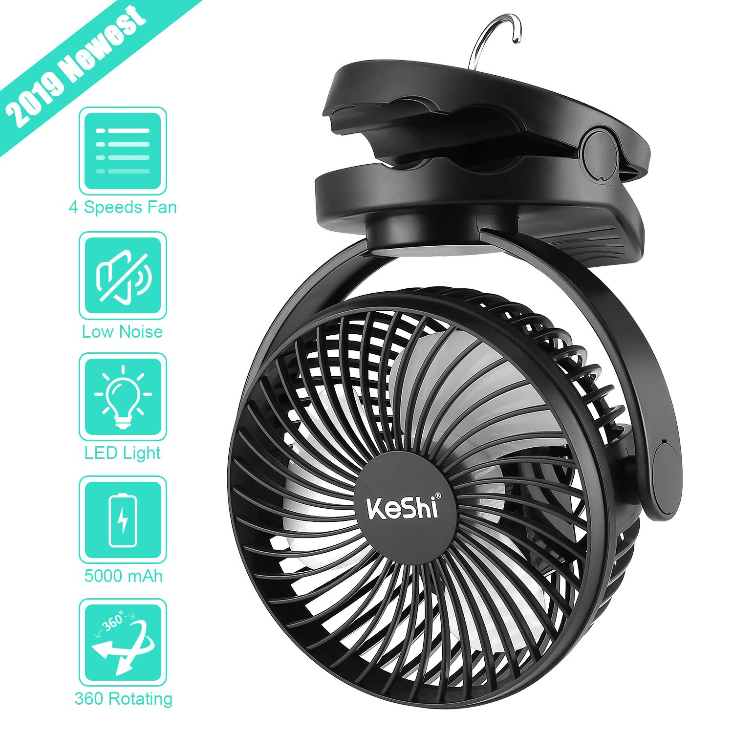 Camping Tent Fan with LED Lantern – 4 Speeds 5000 mAh Battery Operated Personal Desk Fan – Ultra Silent Clip on Fan for Stroller – Portable USB Rechargeable Fan for Camping, Hiking, Home and Office