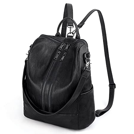 UTO Women 3 Ways Convertible Backpack Handbags Ladies Rucksack Shoulder Bag  PU Washed Leather Double Zipper Pockets Removal Shoulder Straps Black  ... a1b04b1c886f4