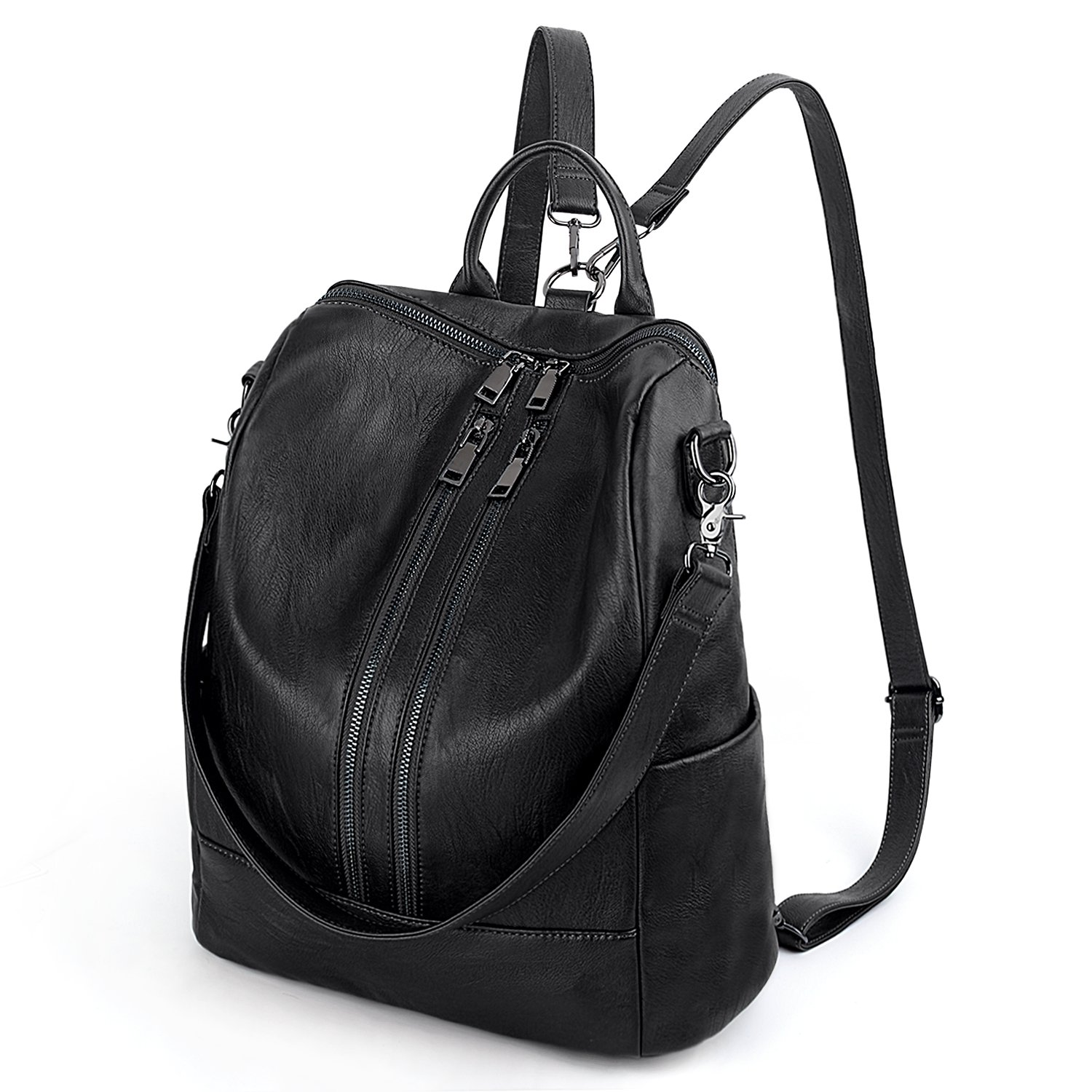 465b8b9d8c6f Amazon.com  UTO Women Backpack Purse PU Washed Leather Convertible Ladies  Rucksack Double Zipper Pockets with Shoulder Strap Black  Shoes