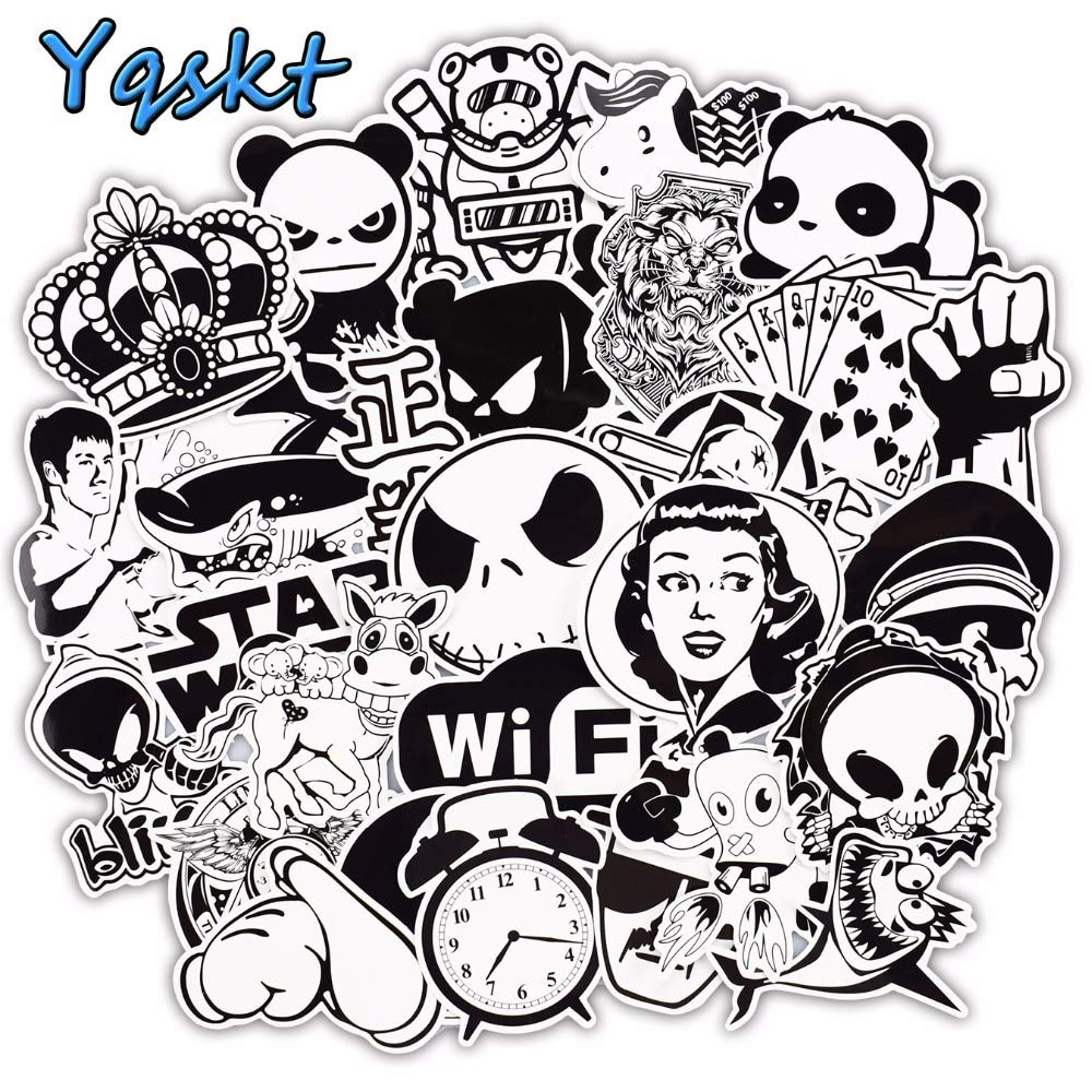 Gadgets wrap 100 pcs black and white stickers for laptop motorcycle car styling luggage bicycle skateboard vinyl decals sticker buy gadgets wrap 100 pcs