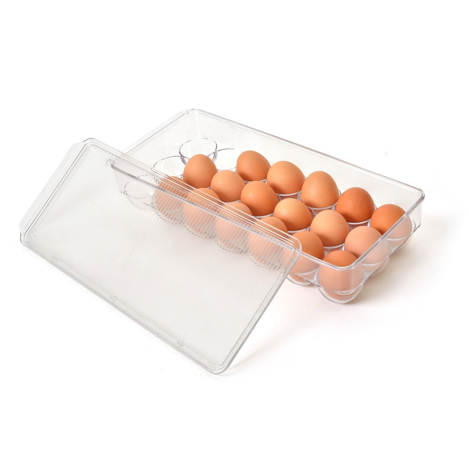 Totally Kitchen Covered Egg Tray Holder - Refrigerator Storage Container, 21 Egg Tray, Clear