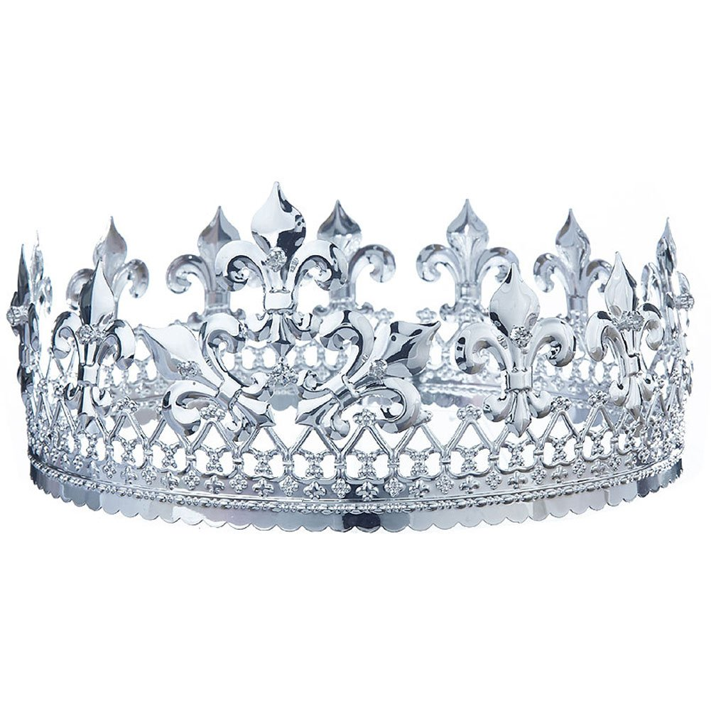 Men's Pageant Homecoming King Full Circle Round Silver Crown T1714
