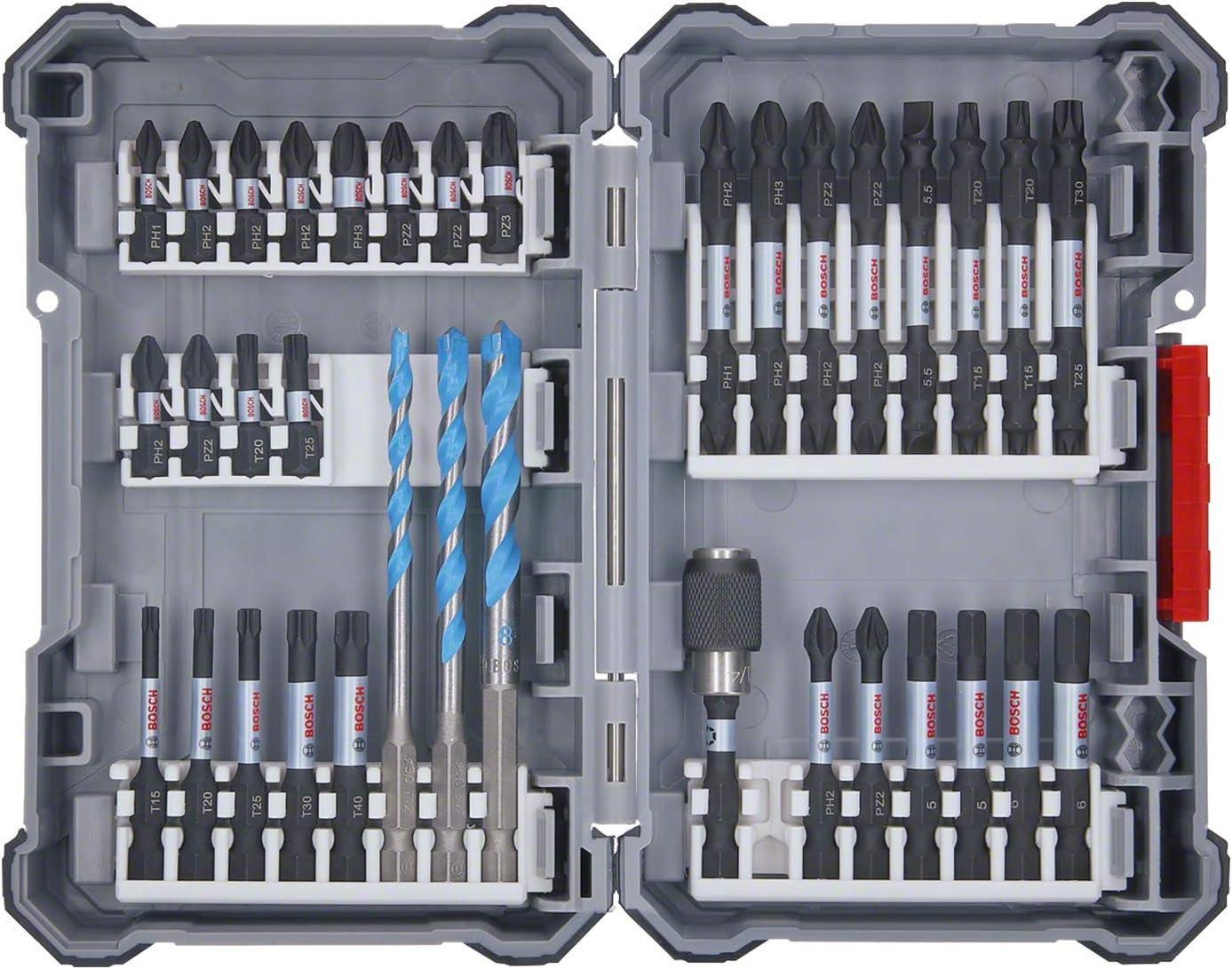 Bosch Professional 35 unidades para taladrar y atornillar (Pick and Click, accesorios para atornilladores de impacto, con puntas, brocas universales y portapuntas universal)