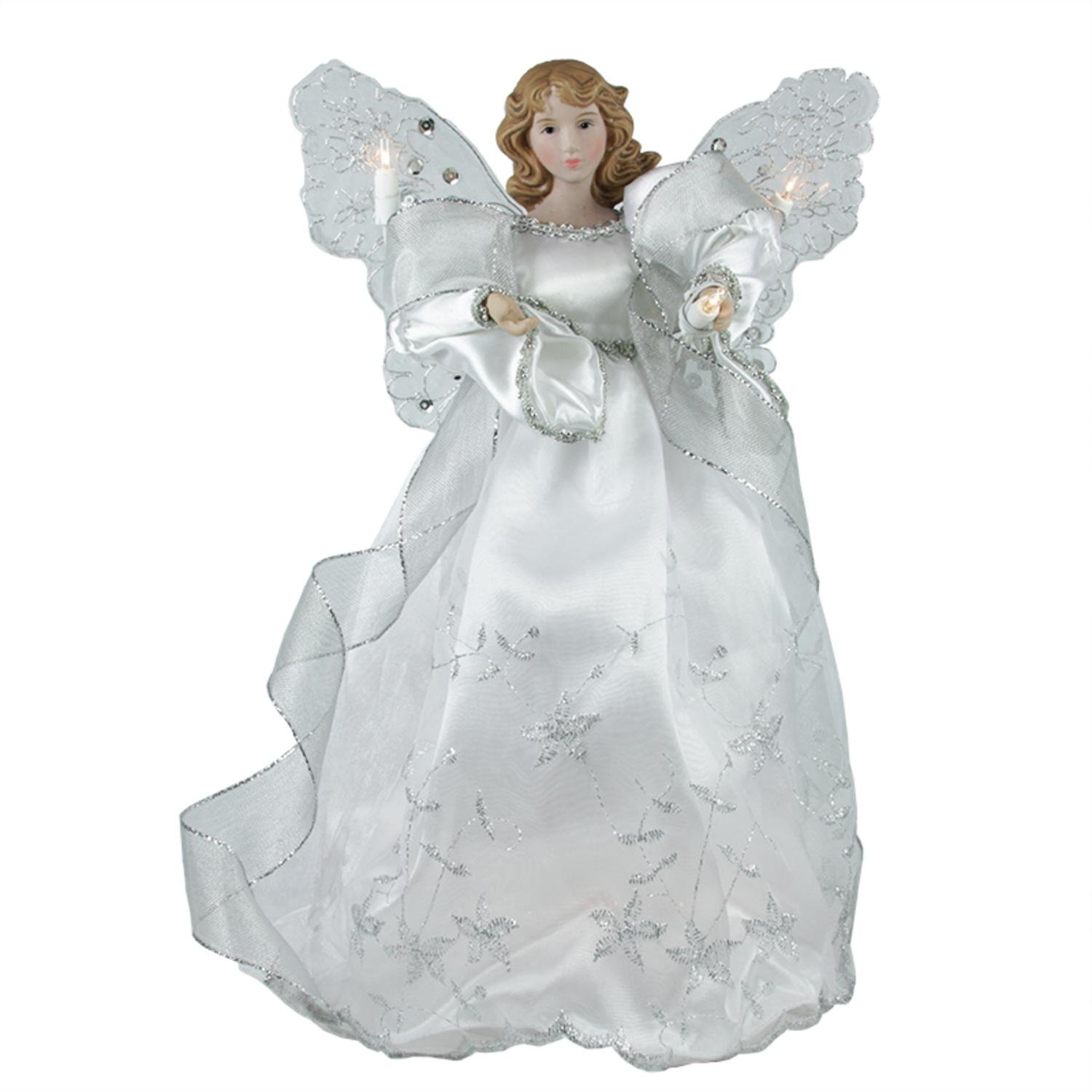 amazoncom 13 elegant silver and white lighted porcelain angel christmas tree topper home kitchen - Angel Christmas Tree