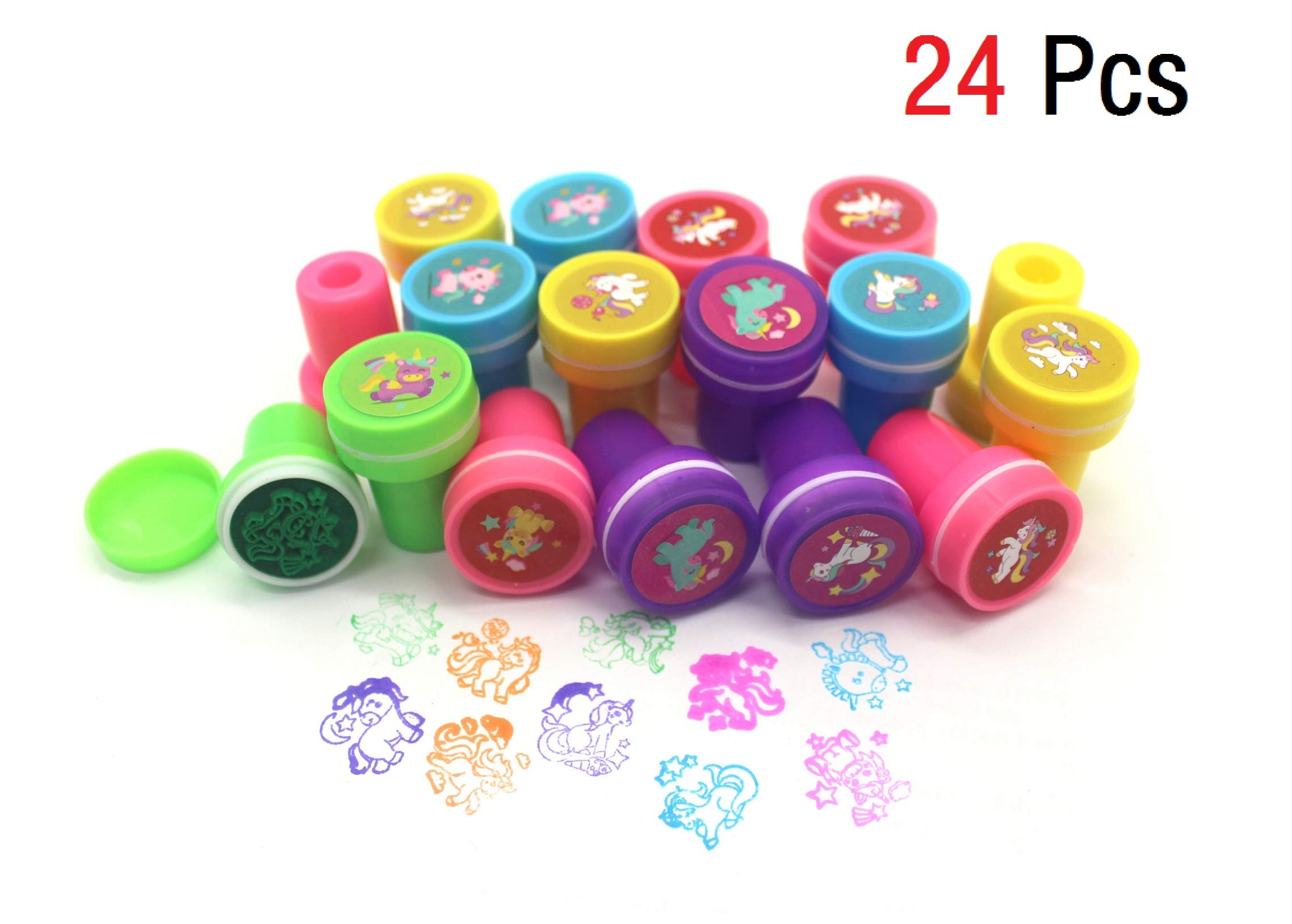 Klmars AB-112 Unicorn Theme Party Favor for Kids-96Pcs Tatoo-24Pcs Stamper-27 Pcs Rings Necklace Keychain-Birthday Party Supplies, Colorful 4