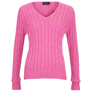 37d4850b51b3 Polo Ralph Lauren Women s Kimberly Jumper - Greenwich Pink Cable Knitted  Knit F2 (Small)