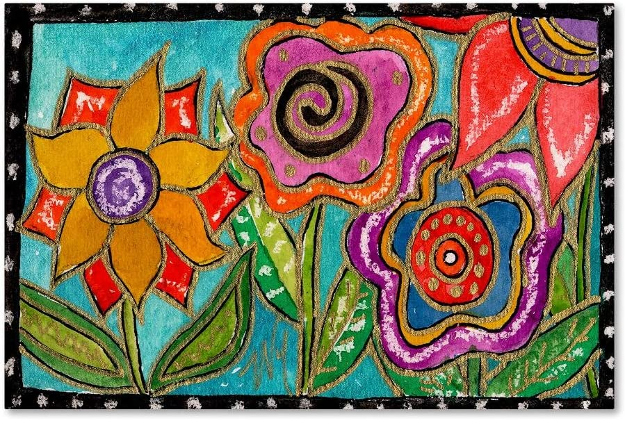 Funky Flower Garden by Wyanne, 12x19-Inch Canvas Wall Art