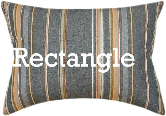 TPO Design, Sunbrella Stanton Greystone Indoor Outdoor Striped Pillow 12×18 Rectangle