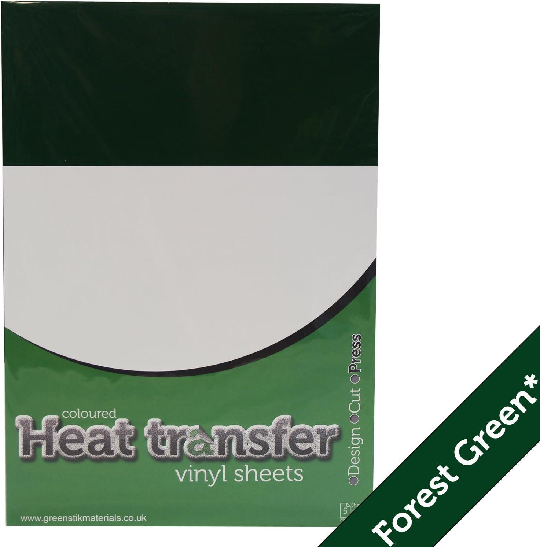 5 x verde (407) Poliflex de transferencia de calor camiseta prendas de ropa textil hojas de vinilo: Amazon.es: Hogar