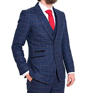 81176299c98 FDQ Mens Blue Orange 3 Piece Suit Window Check Retro Smart Tailored Fit  Vintage - UK