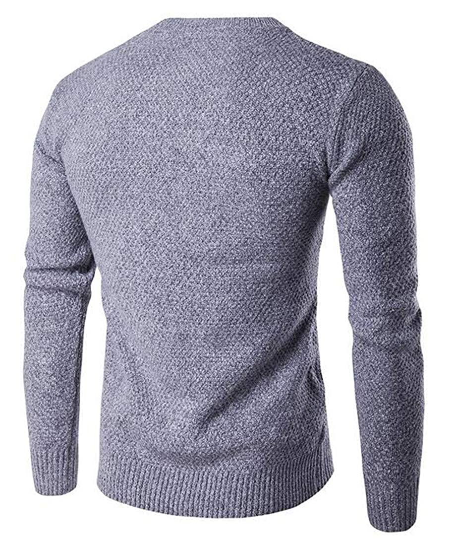 Cromoncent Mens Casual Round Neck Long Sleeve Thick Knitted Pullover Jumper Sweaters