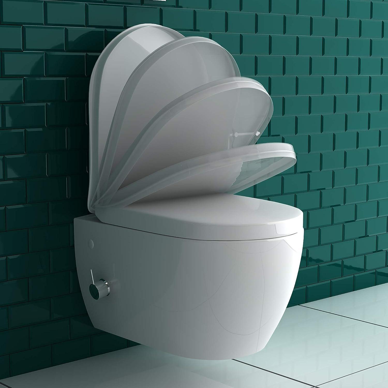 Anschluss-Schl/äuche f/ür die D/üse Quick-Release D-Form WC-Sitz mit Absenkautomatik Kalt-Warm Wasser Anschluss Alpenberger Sp/ülrandlos-Dusch WC mit seitlich eingebauter Einhebelarmatur inkl