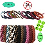 Xnature Mosquito Repellent Bracelet (12pc) Leather Bands, Long Protection Against Mosquitoes Insects Wrist Bands for Kids, Babies, Adults, Men and Women With 6 Pieces of Mosquito Repellent Patch