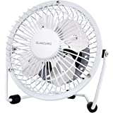 GLAMOURIC Metal Desk Fan Small Table Fan 4 Inch Mini Portable Size USB Powered Quiet Airflow Personal Cooler Air Circulator 360° Rotation for Office Home Study Travel (White)