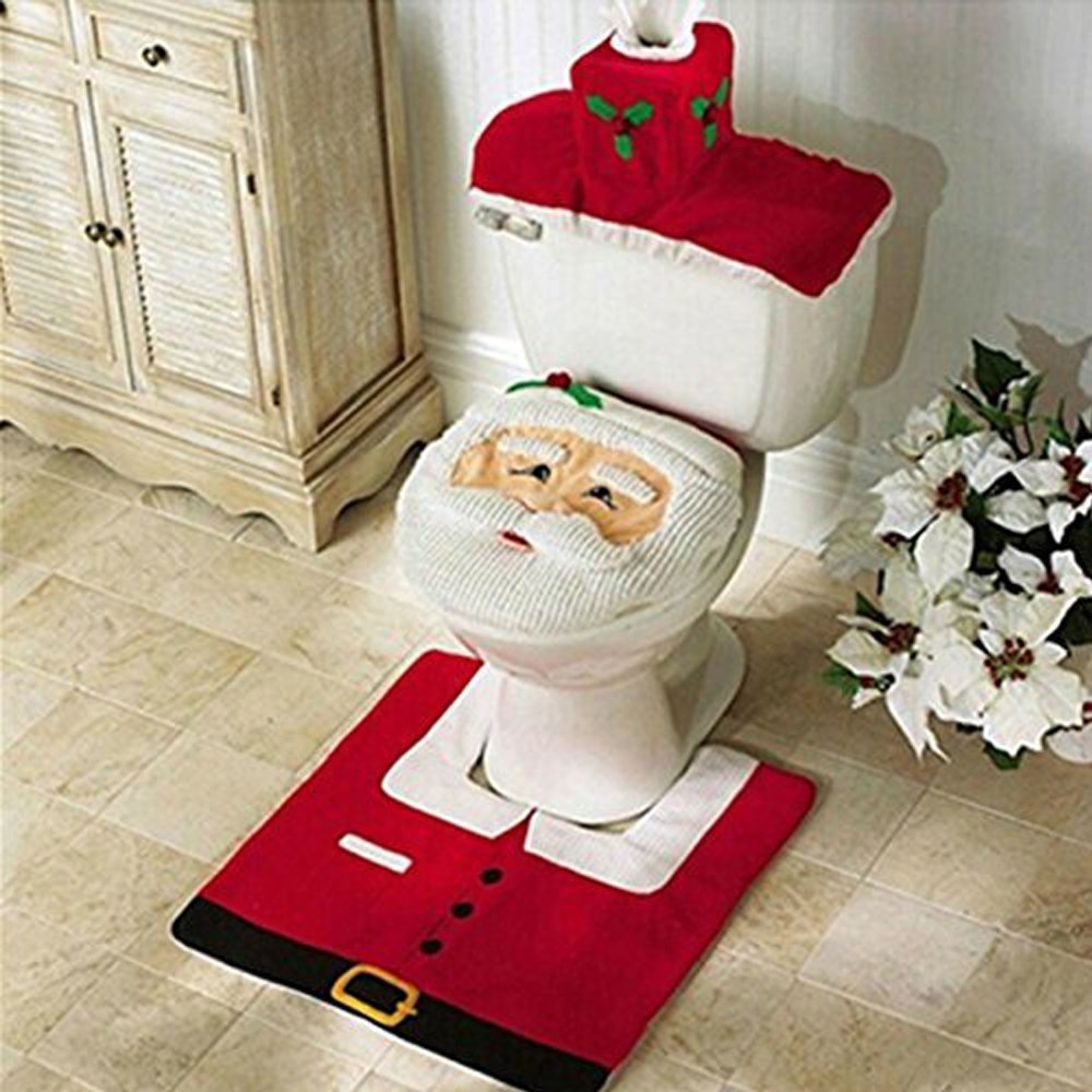Jentay Christmas Decorations Happy Santa Toilet Seat Cover and Rug Set
