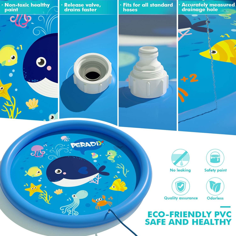 Peradix Splash Play Mat,Splash Pad,170CM Tapete de Aprendizaje para Juego Agua de Salpicaduras y PVC Salpica Almohadilla para Niños para Jardín de Verano Juguetes Acuático