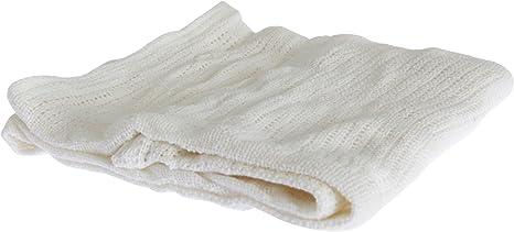 Mantita/Arrullo de punto de algodón para bebés niños y niñas (70 x 90cm) (Blanco): Amazon.es: Bebé