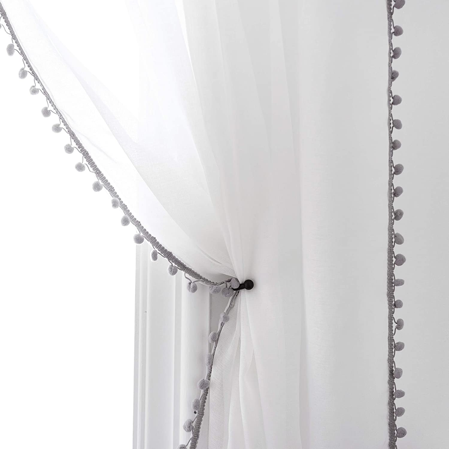 Selectex Linen Look Pom Pom Tasseled Sheer Curtains - Rod Pocket Voile Semi-Sheer Curtains for Living and Bedroom, Set of 2 Curtain Panels (52 x 108 inch, White Sheer & Gray Pom Poms)