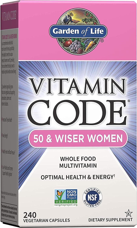 Getsocio Garden of Life Multivitamin for Women 50 & Over, Vitamin Code Women 50 & Wiser Multi - 240 Capsules, Vitamins for Women 50 Plus with B Vitamins, Vitamins A, C, D3, E