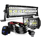 "22"" LED Light Bar Curved DakRide Triple Row 390W Flood Spot Combo Beam Off Road Lights 2pc 4inch 60W Spot Driving Fog…"