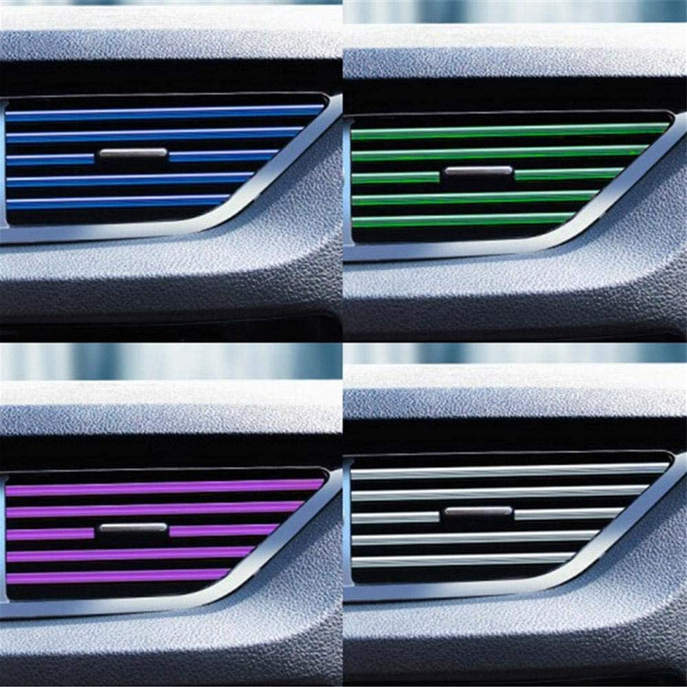 Volwco Car Interior Decoration Strip 10pcs 20cm U Shape Car Air Conditioning Air Outlet Decorative Strip Moulding Trim Strips Car Styling Air Vent Clip Strip Trim Guard Protector Cover