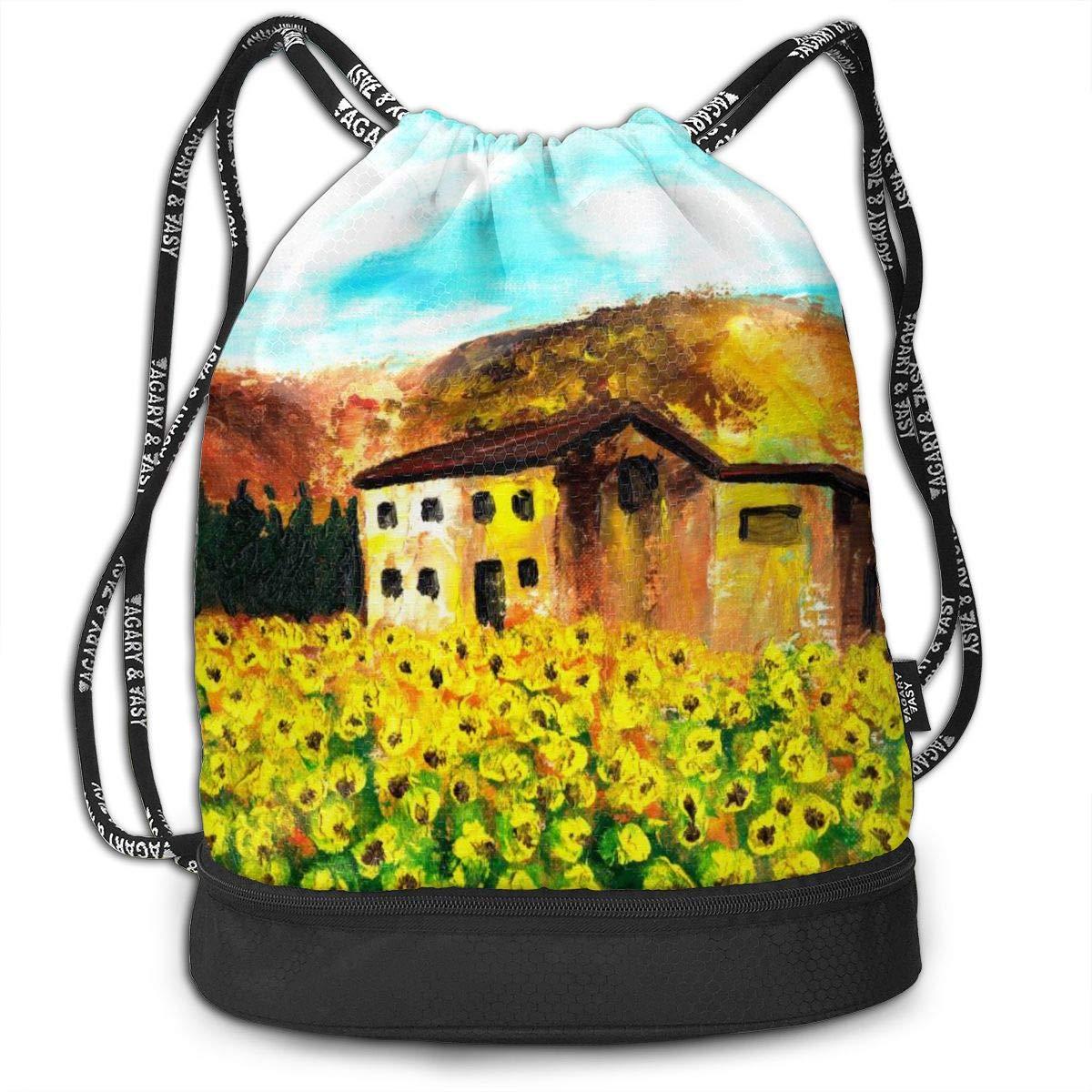 Drawstring Backpack Sunflower Bags Knapsack For Hiking