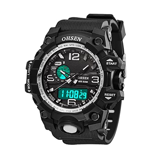 Outdoor Sports Watch - Stainless Steel digital Watches, Functional Watch with LED Backlight Display