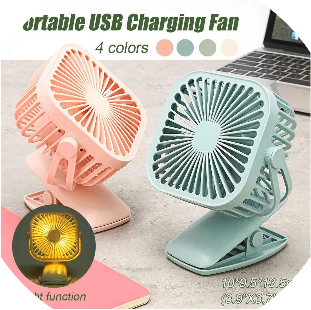 Portable Cooling Mini USB Fan 2 Speeds 360 Degree All Round Rotation Rechargeable Air Fan USB Charging Desktop Clip Fan,Green