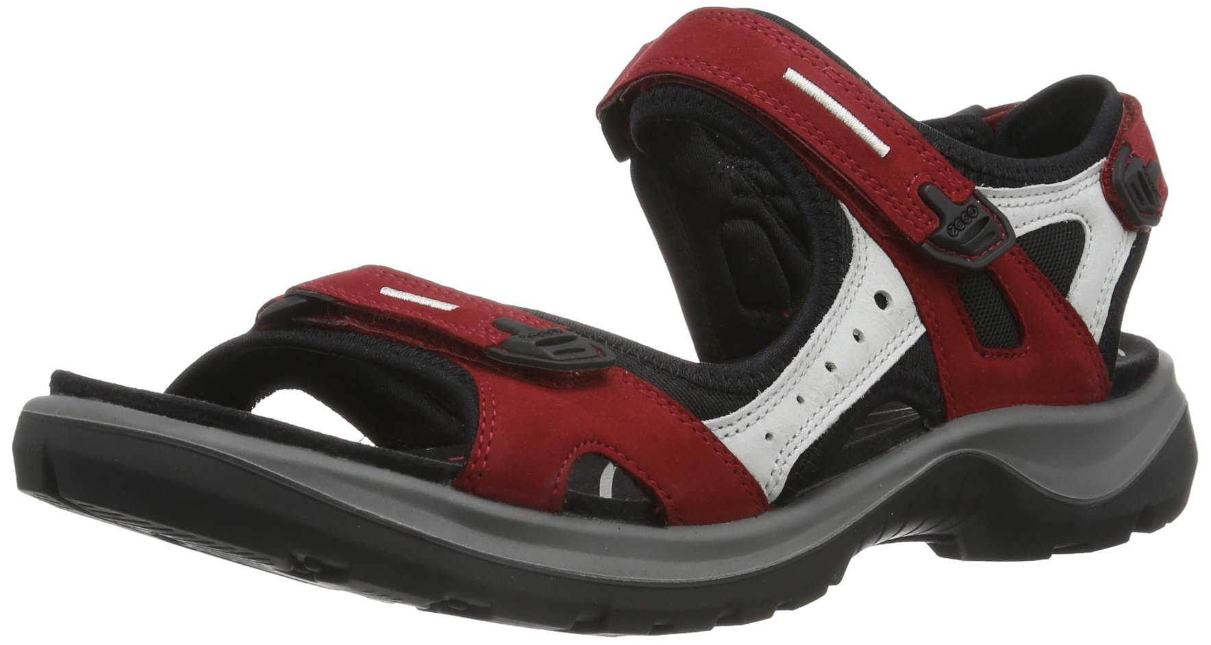 ECCO Women's Yucatan Athletic Sandal,Chili Red/Concrete/Black,39 EU (US Women's 8-8.5 M)