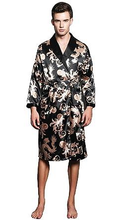 19bd56234e SexyTown Long Satin Lounge Print Bathrobe Men s Charmeuse Sleepwear with  Pockets Small A-Black