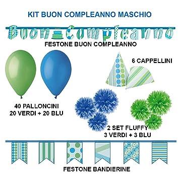 PARTY Kit Fiesta Cumpleaños decoración Completa para Hombre ...