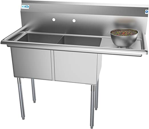 Koolmore 2 Compartment Stainless Steel Nsf Commercial Kitchen Prep Utility Sink With Drainboard Bowl Size 15 X 15 X 12 Silver
