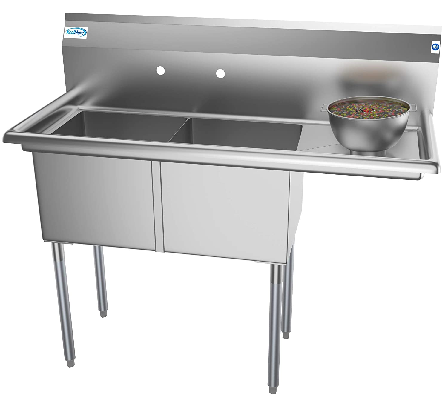 "KoolMore 2 Compartment Stainless Steel NSF Commercial Kitchen Prep & Utility Sink with Drainboard - Bowl Size 15"" x 15"" x 12"""