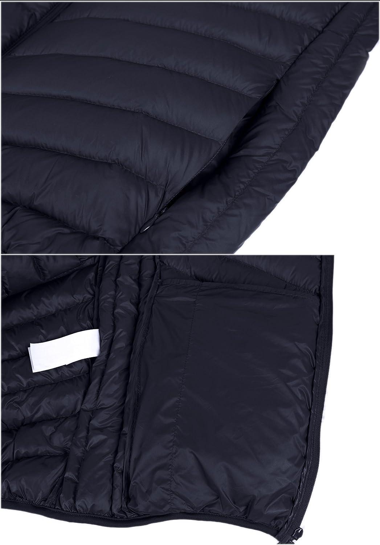 ZSHOW Men's Packable Down Jacket Hooded Lightweight Winter Coat: Clothing