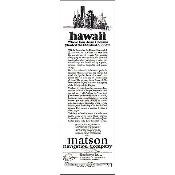 Amazon com: RelicPaper 1925 Matson Navigation: Hawaii, Don