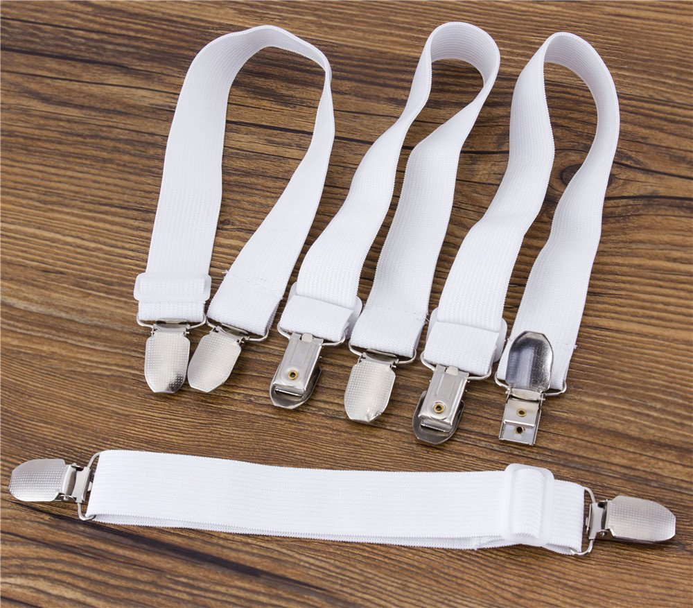 Home-organizer Tech 4 Pcs Adjustable Sheet Band Straps Suspenders Bed or Sofa Sheet Corner Holder Elastic Straps Fasteners Clips Grippers Mattress Cover Sheet Bed Suspenders Twin Queen King (WHITE)