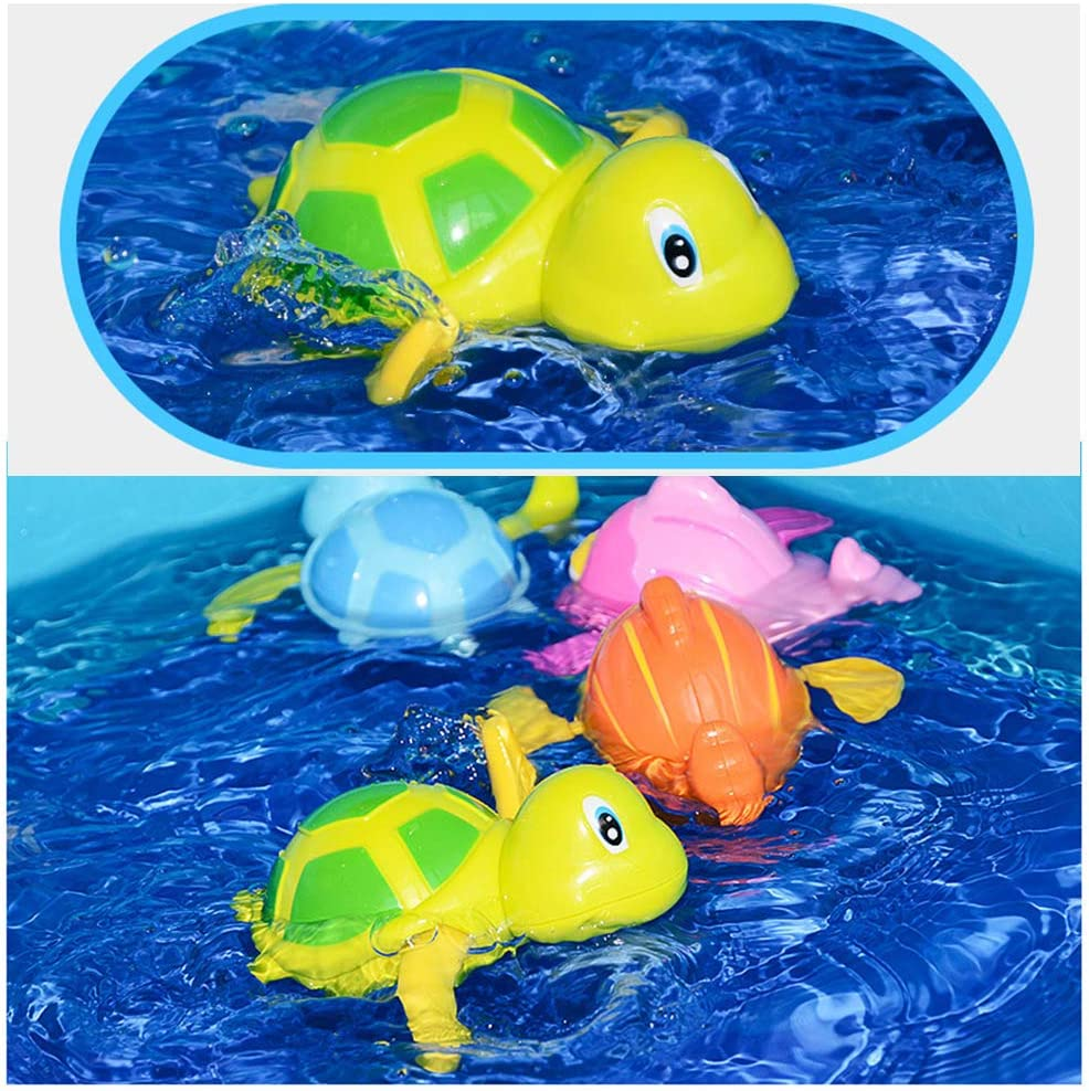 3 Piezas Cute Bath Swimming Wind Up Toys para ni/ños VCOSTORE Turtle Bath Toy para ni/ños peque/ños