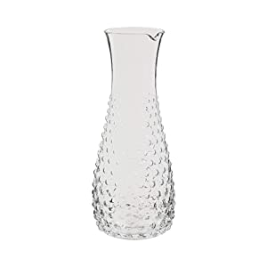 """Fifth Avenue Crystal 310131 Bedside Water Juice Milk Iced Tea Wine Dinner Parties Beverage Carafe – Elegant Glass Pitcher For Guest Room, Office- Gift, 4.1 x 11.8"""", Beaded"""